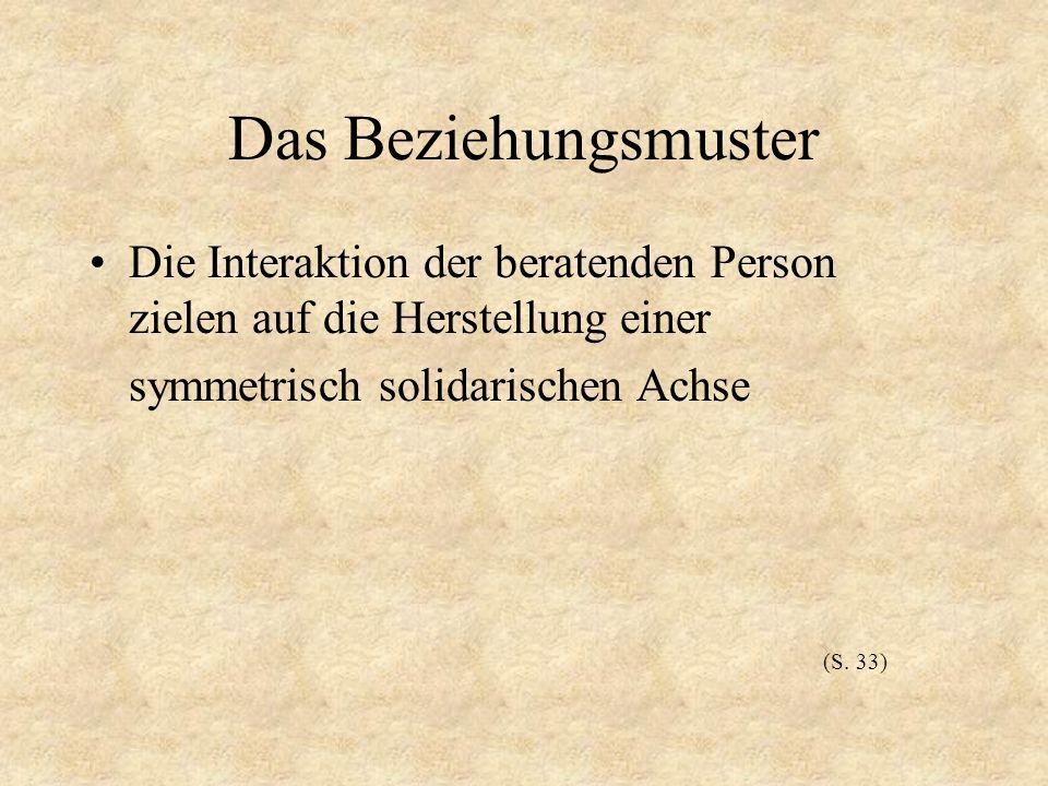 Das Beziehungsmuster Die Interaktion der beratenden Person zielen auf die Herstellung einer symmetrisch solidarischen Achse (S. 33)