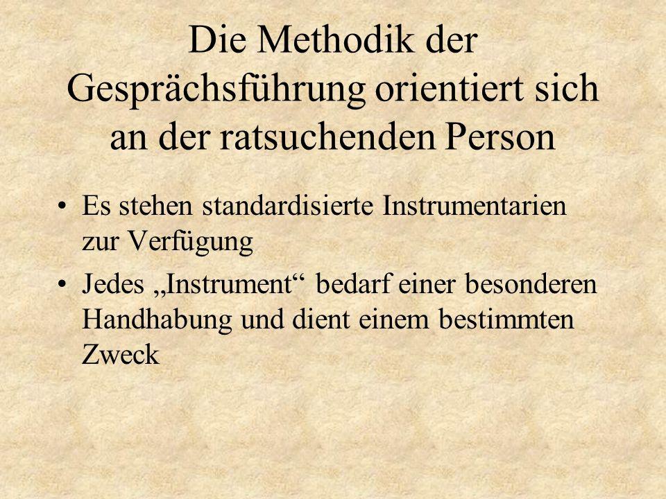 Die Methodik der Gesprächsführung orientiert sich an der ratsuchenden Person Es stehen standardisierte Instrumentarien zur Verfügung Jedes Instrument