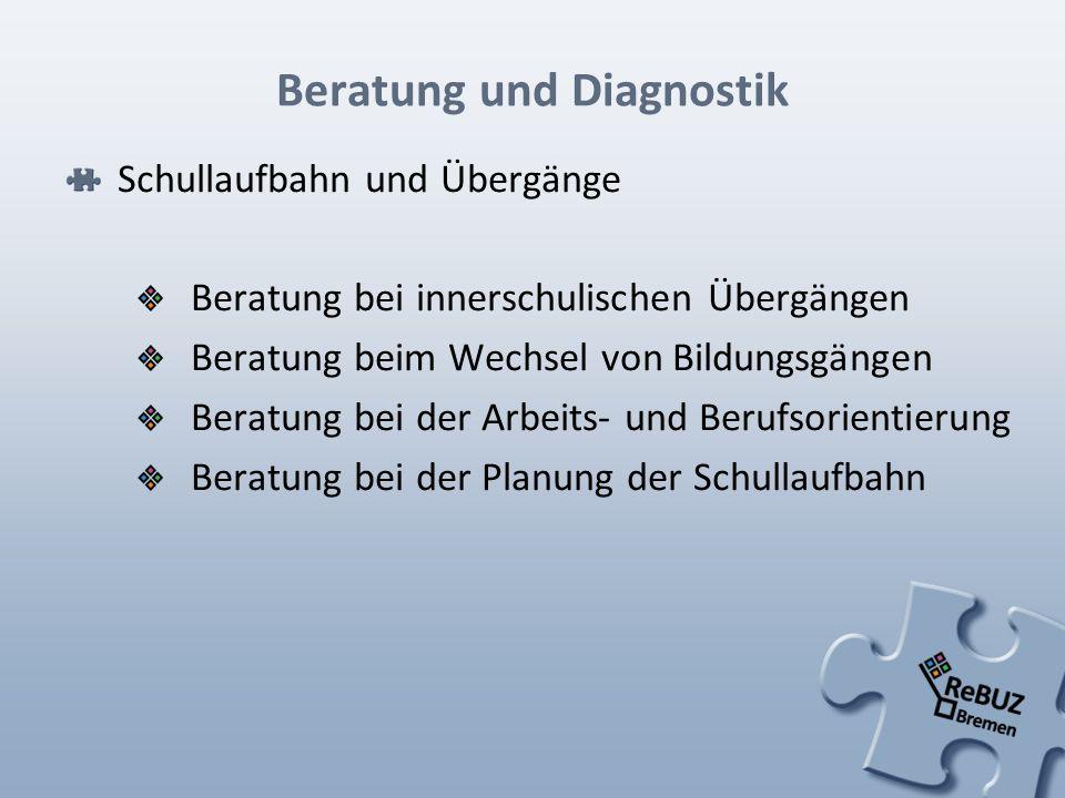 Beratung und Diagnostik Schullaufbahn und Übergänge Beratung bei innerschulischen Übergängen Beratung beim Wechsel von Bildungsgängen Beratung bei der