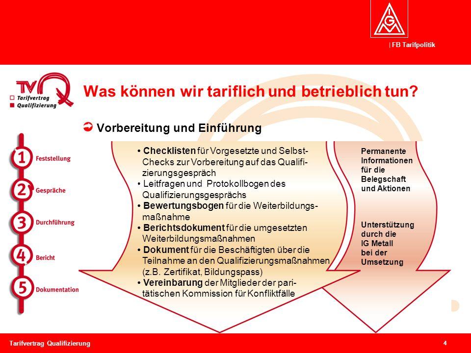 FB Tarifpolitik 4 Tarifvertrag Qualifizierung Was können wir tariflich und betrieblich tun? Vorbereitung und Einführung Permanente Informationen für d