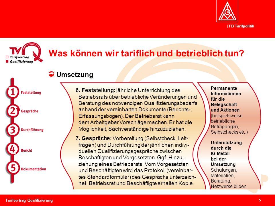 FB Tarifpolitik 5 Tarifvertrag Qualifizierung Was können wir tariflich und betrieblich tun? Umsetzung Permanente Informationen für die Belegschaft und