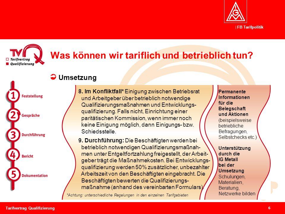 FB Tarifpolitik 7 Tarifvertrag Qualifizierung Was können wir tariflich und betrieblich tun.