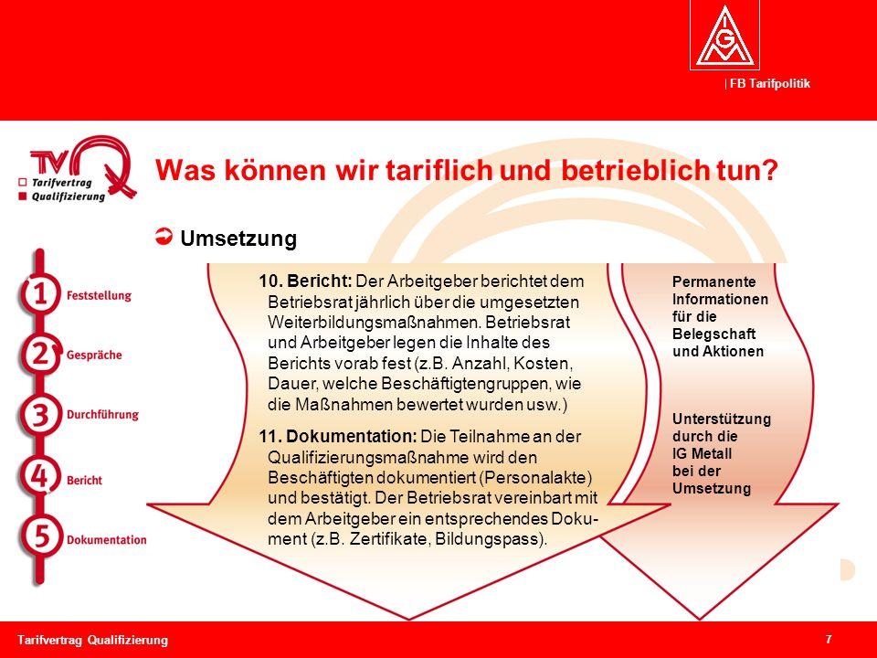 FB Tarifpolitik 7 Tarifvertrag Qualifizierung Was können wir tariflich und betrieblich tun? Umsetzung Permanente Informationen für die Belegschaft und