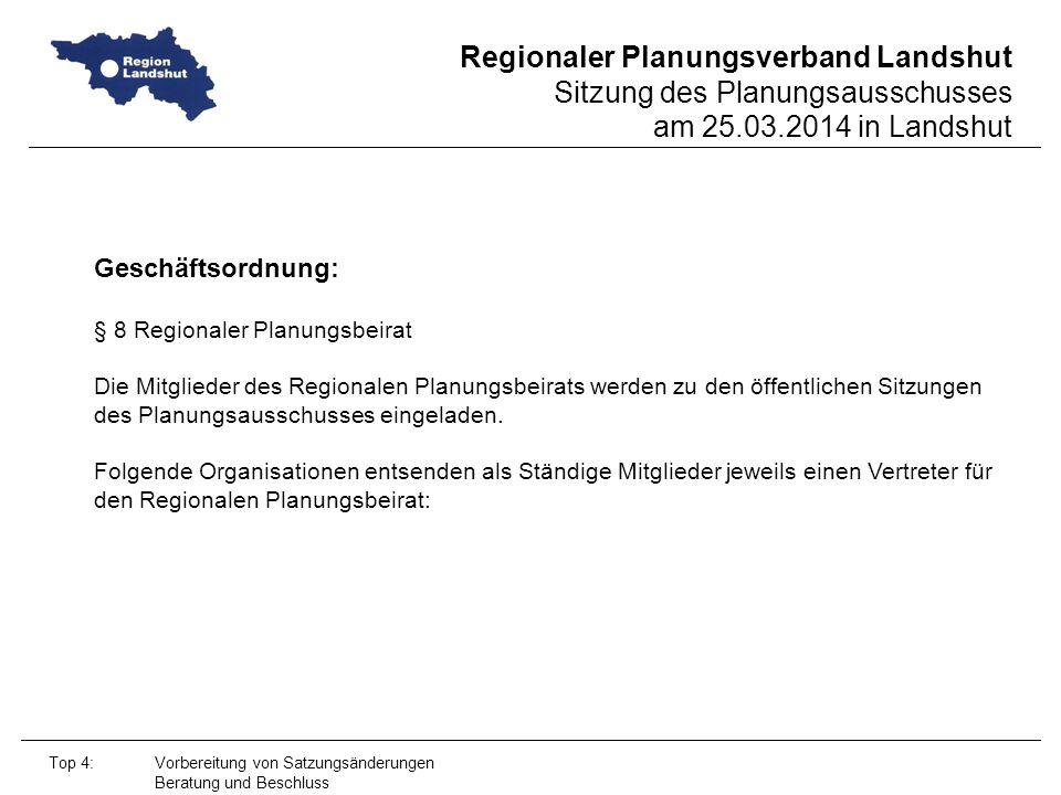Regionaler Planungsverband Landshut Sitzung des Planungsausschusses am 25.03.2014 in Landshut Top 4: Vorbereitung von Satzungsänderungen Beratung und Beschluss Geschäftsordnung: § 8 Regionaler Planungsbeirat Die Mitglieder des Regionalen Planungsbeirats werden zu den öffentlichen Sitzungen des Planungsausschusses eingeladen.