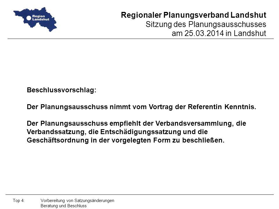 Regionaler Planungsverband Landshut Sitzung des Planungsausschusses am 25.03.2014 in Landshut Top 4: Vorbereitung von Satzungsänderungen Beratung und Beschluss Beschlussvorschlag: Der Planungsausschuss nimmt vom Vortrag der Referentin Kenntnis.