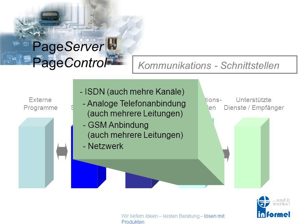 Wir liefern Ideen – leisten Beratung – lösen mit Produkten PageServer PageControl PageServer/PageControl Alarmserver Externe Programme Externe Schnitt