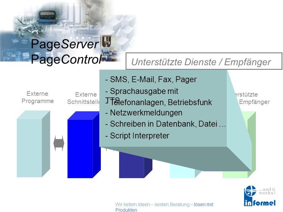 Wir liefern Ideen – leisten Beratung – lösen mit Produkten PageServer PageControl Kommunikations - Schnittstellen Externe Programme Externe Schnittste
