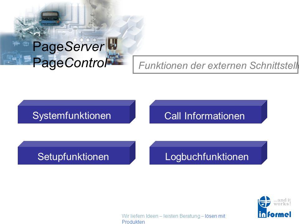 Wir liefern Ideen – leisten Beratung – lösen mit Produkten PageServer PageControl Unterstützte Dienste / Empfänger Externe Programme Externe Schnittst