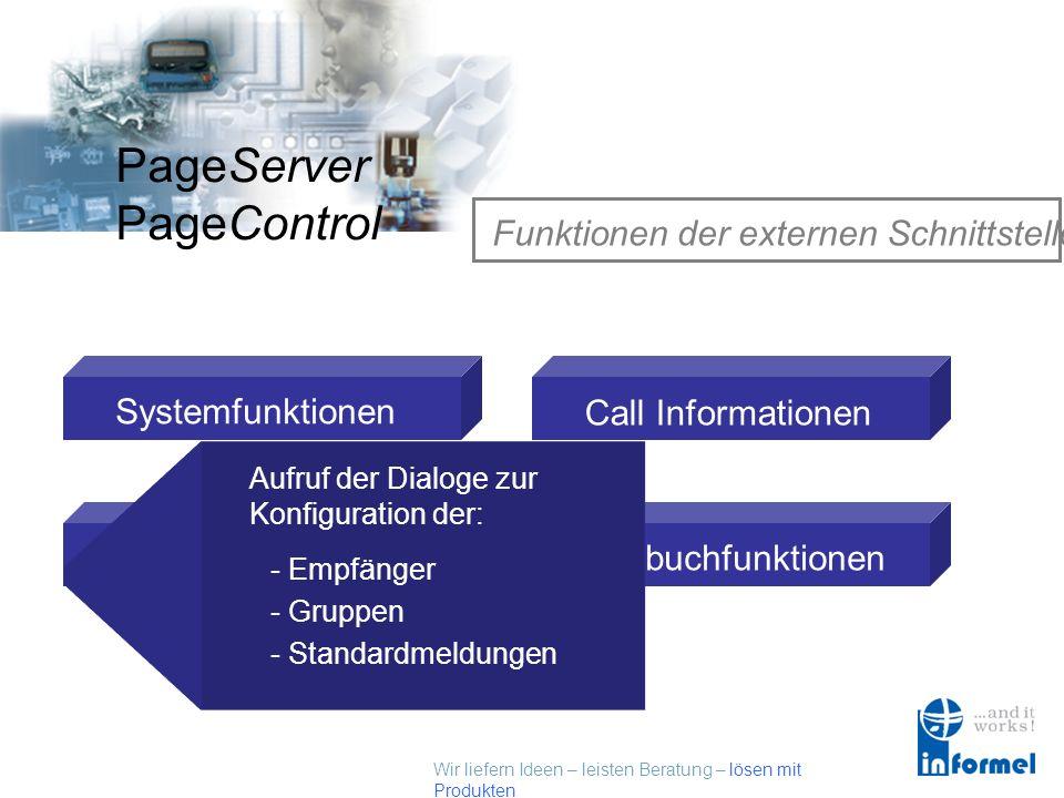 Wir liefern Ideen – leisten Beratung – lösen mit Produkten PageServer PageControl Funktionen der externen Schnittstelle Systemfunktionen Setupfunktion
