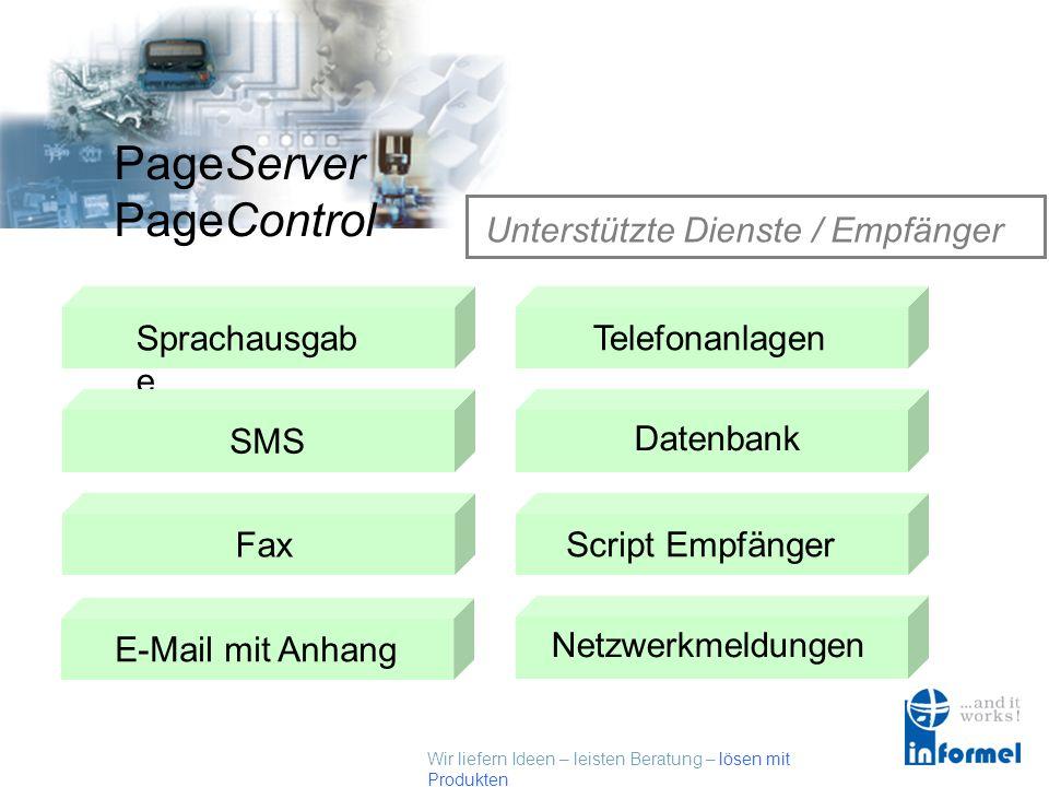 Wir liefern Ideen – leisten Beratung – lösen mit Produkten PageServer PageControl Unterstützte Kommunikation ISDN über CAPI GSM ModemAnaloges Modem Ne