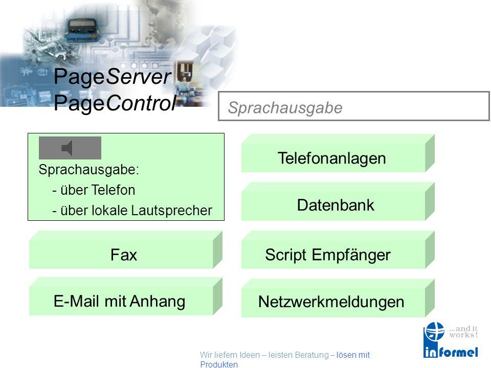 Wir liefern Ideen – leisten Beratung – lösen mit Produkten PageServer PageControl Unterstützte Dienste / Empfänger Sprachausgab e SMSTelefonanlagen Da