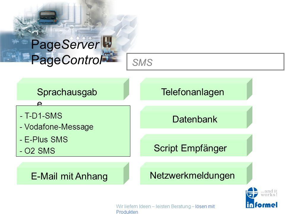 Wir liefern Ideen – leisten Beratung – lösen mit Produkten PageServer PageControl Sprachausgabe SMSTelefonanlagen Datenbank Fax E-Mail mit AnhangScrip