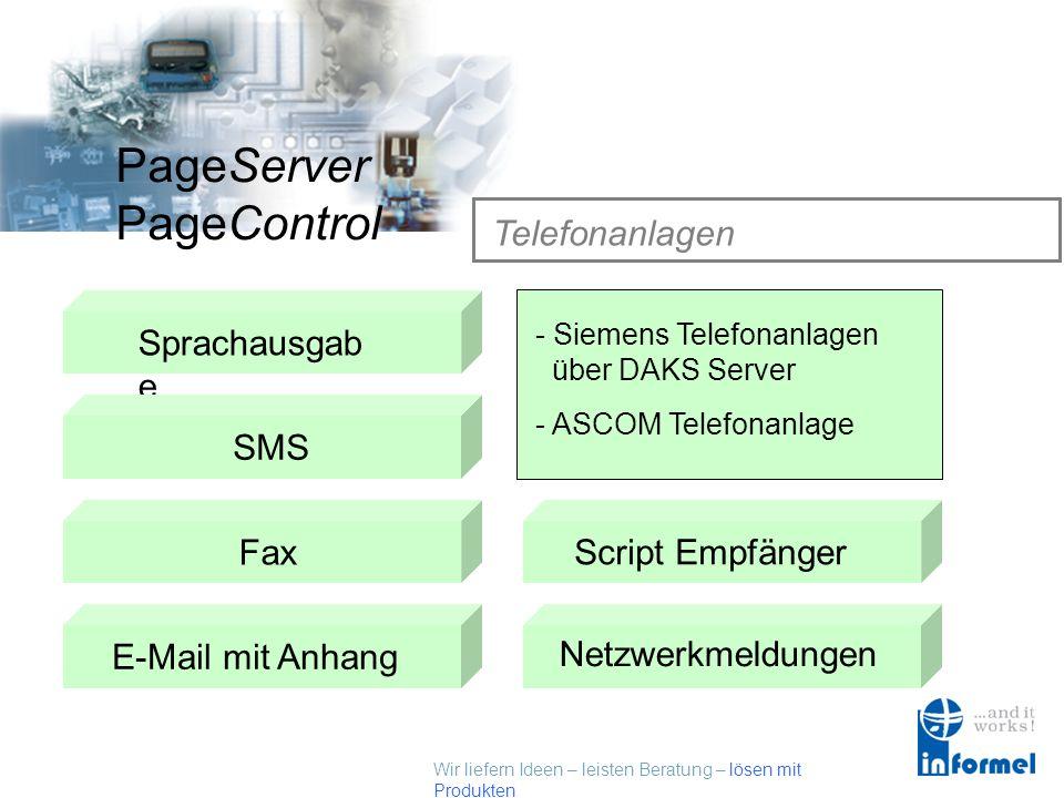 Wir liefern Ideen – leisten Beratung – lösen mit Produkten PageServer PageControl E – Mail mit Anhang Sprachausgab e SMSTelefonanlagen Datenbank Fax E