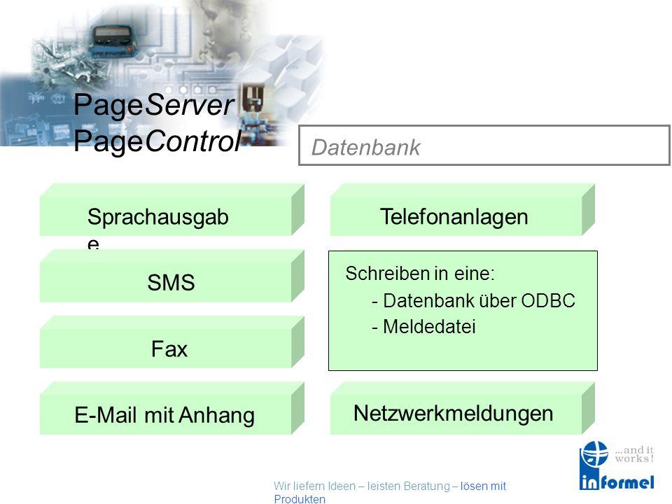 Wir liefern Ideen – leisten Beratung – lösen mit Produkten PageServer PageControl Telefonanlagen Sprachausgab e SMSTelefonanlagen Datenbank Fax E-Mail
