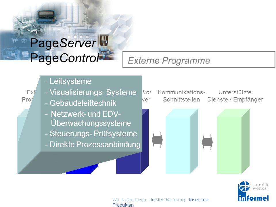 Wir liefern Ideen – leisten Beratung – lösen mit Produkten PageServer PageControl PageServer / PageControl Funktionsweise Externe Programme Externe Sc
