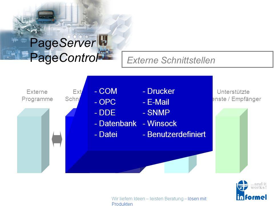 Wir liefern Ideen – leisten Beratung – lösen mit Produkten PageServer PageControl Externe Programme Externe Programme Externe Schnittstellen PageContr