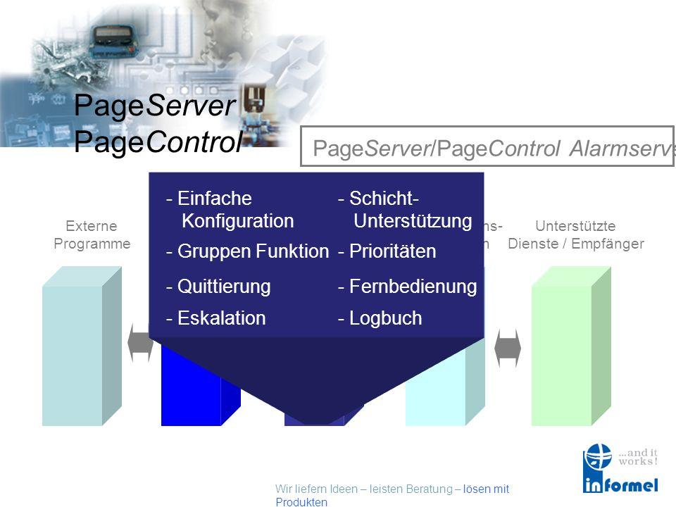 Wir liefern Ideen – leisten Beratung – lösen mit Produkten PageServer PageControl Externe Schnittstellen Externe Programme Externe Schnittstellen Page