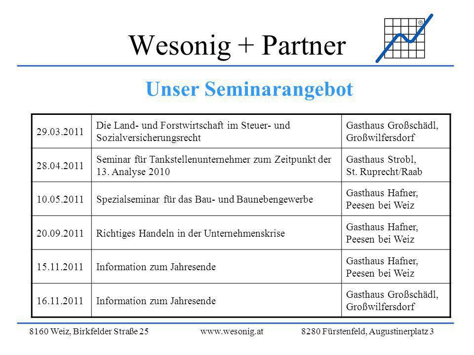 8160 Weiz, Birkfelder Straße 25www.wesonig.at 8280 Fürstenfeld, Augustinerplatz 3 Wesonig + Partner Unser Seminarangebot 29.03.2011 Die Land- und Fors