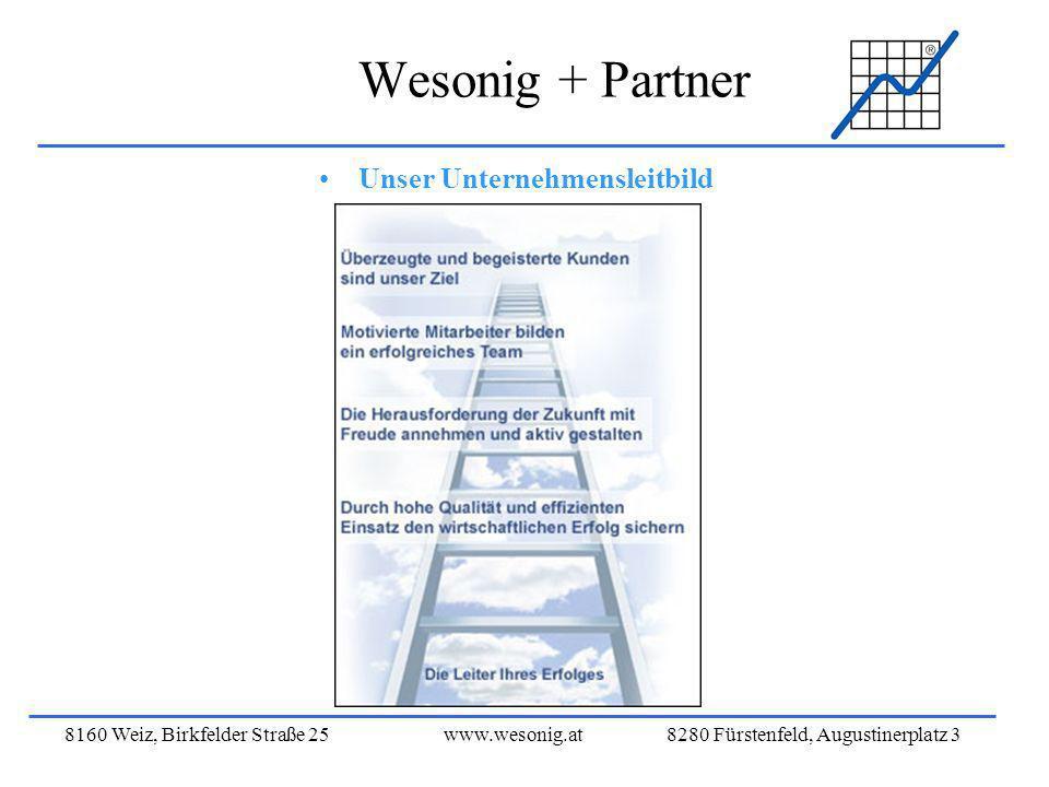 8160 Weiz, Birkfelder Straße 25www.wesonig.at 8280 Fürstenfeld, Augustinerplatz 3 Wesonig + Partner Unser Unternehmensleitbild