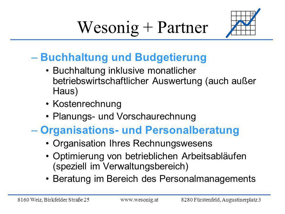 8160 Weiz, Birkfelder Straße 25www.wesonig.at 8280 Fürstenfeld, Augustinerplatz 3 Wesonig + Partner –Buchhaltung und Budgetierung Buchhaltung inklusiv