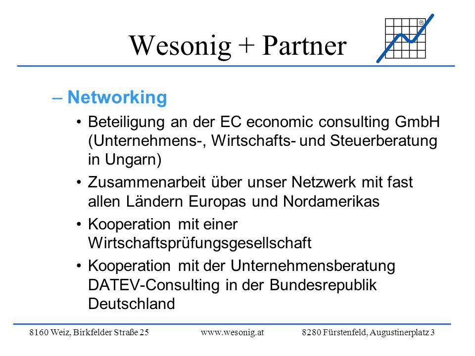 8160 Weiz, Birkfelder Straße 25www.wesonig.at 8280 Fürstenfeld, Augustinerplatz 3 Wesonig + Partner –Networking Beteiligung an der EC economic consult