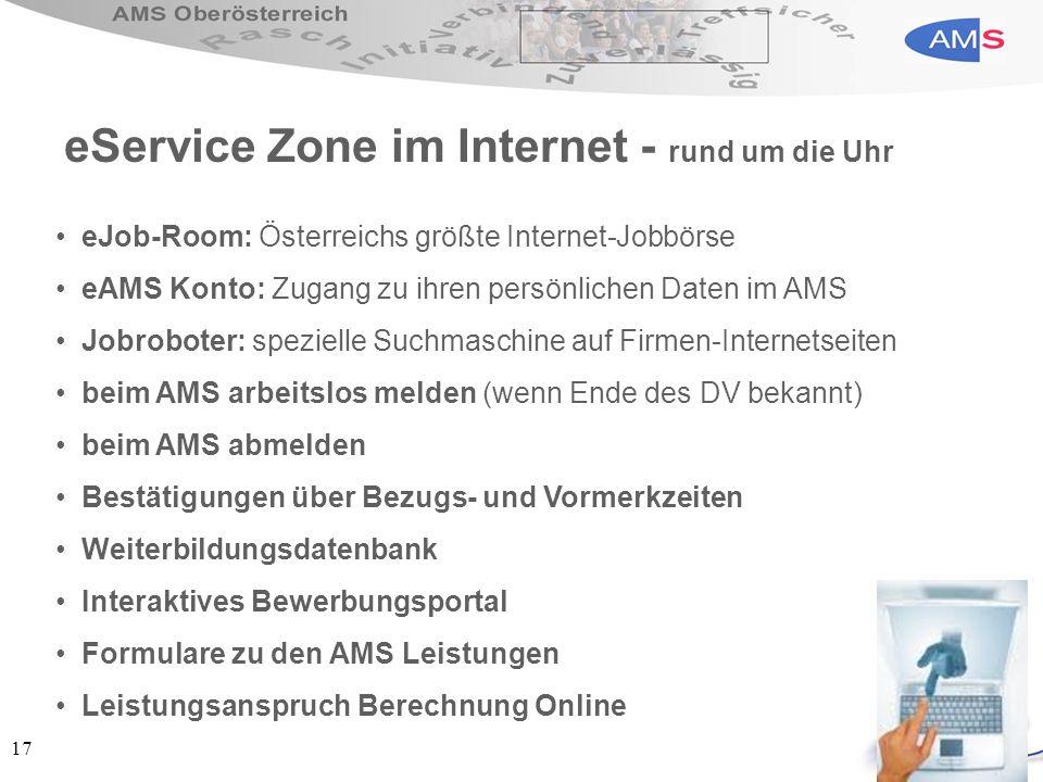 17 eJob-Room: Österreichs größte Internet-Jobbörse eAMS Konto: Zugang zu ihren persönlichen Daten im AMS Jobroboter: spezielle Suchmaschine auf Firmen