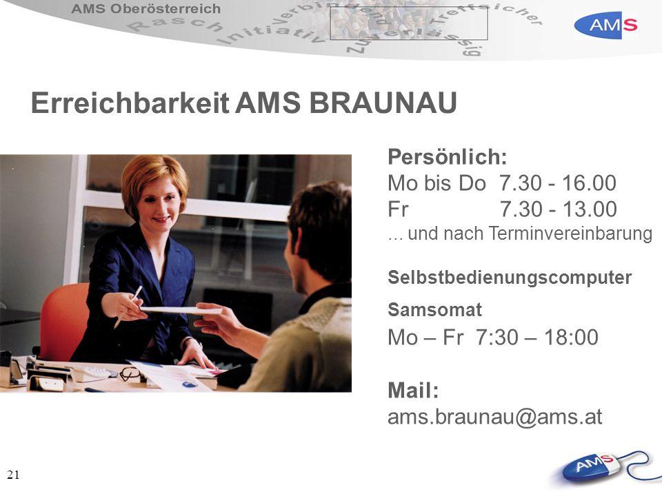 21 Persönlich: Mo bis Do 7.30 - 16.00 Fr 7.30 - 13.00... und nach Terminvereinbarung Selbstbedienungscomputer Samsomat Mo – Fr 7:30 – 18:00 Mail: ams.