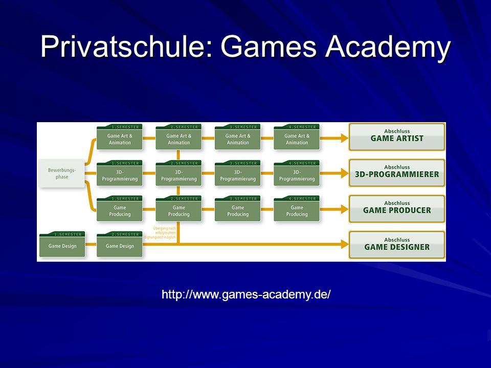 Privatschule: Games Academy http://www.games-academy.de/