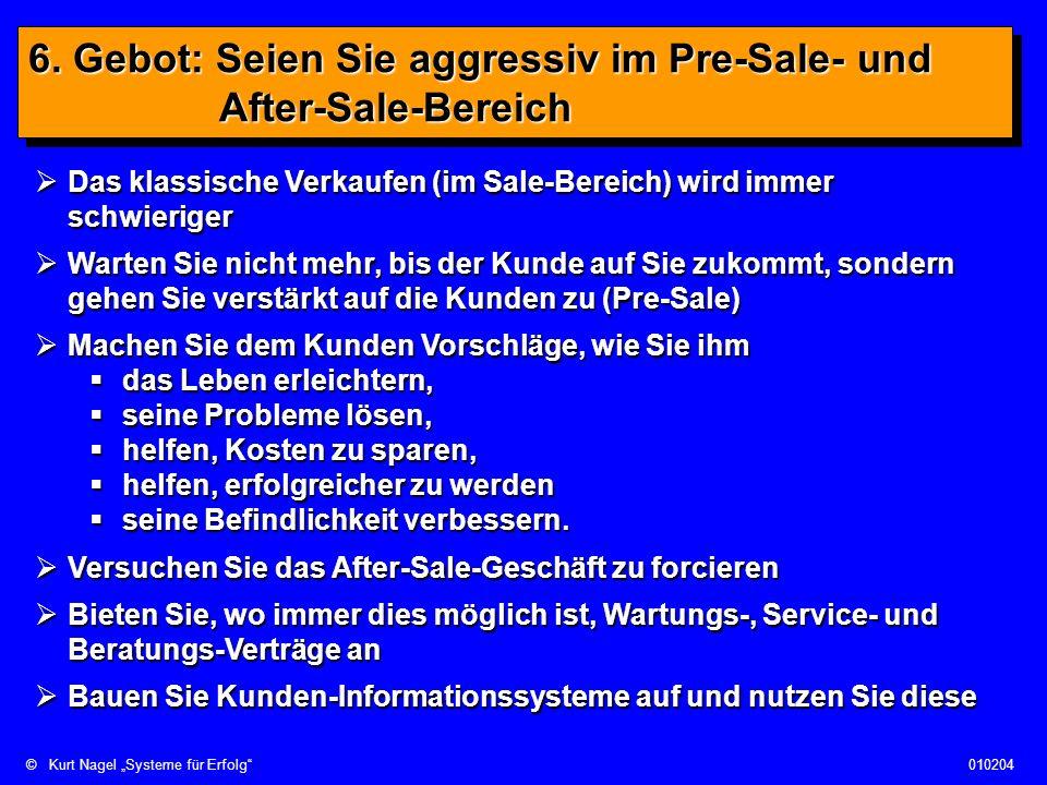 ©Kurt Nagel Systeme für Erfolg010204 6. Gebot: Seien Sie aggressiv im Pre-Sale- und After-Sale-Bereich Das klassische Verkaufen (im Sale-Bereich) wird