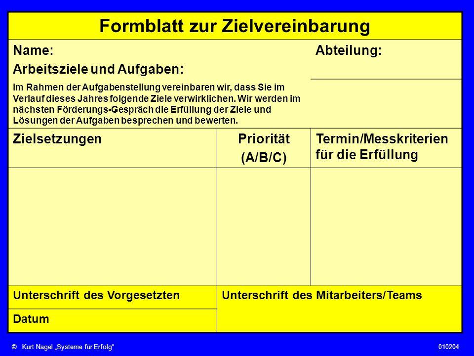 ©Kurt Nagel Systeme für Erfolg010204 Formblatt zur Zielvereinbarung Name: Arbeitsziele und Aufgaben: Abteilung: Im Rahmen der Aufgabenstellung vereinb