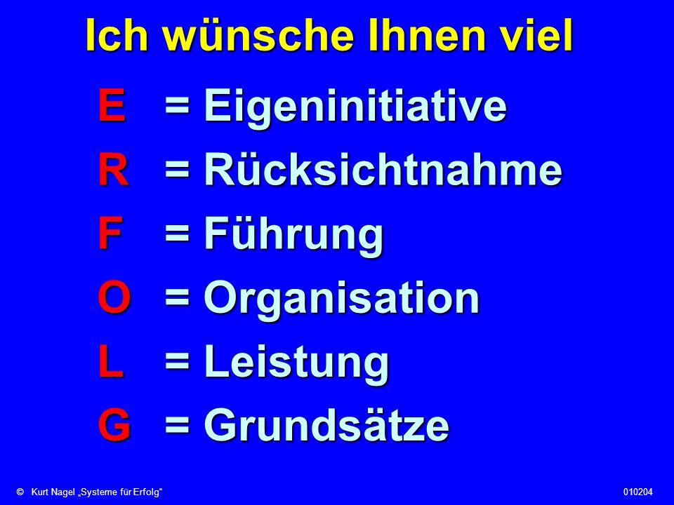 ©Kurt Nagel Systeme für Erfolg010204 Ich wünsche Ihnen viel E= Eigeninitiative G= Grundsätze L= Leistung O= Organisation F= Führung R= Rücksichtnahme
