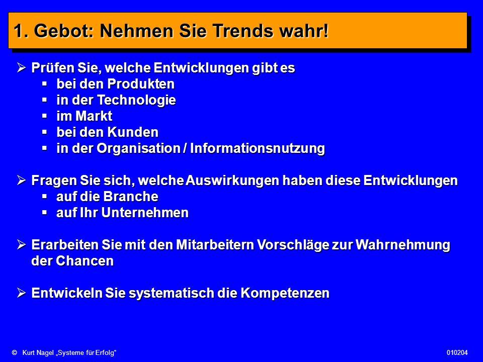©Kurt Nagel Systeme für Erfolg010204 1. Gebot: Nehmen Sie Trends wahr! Prüfen Sie, welche Entwicklungen gibt es Prüfen Sie, welche Entwicklungen gibt