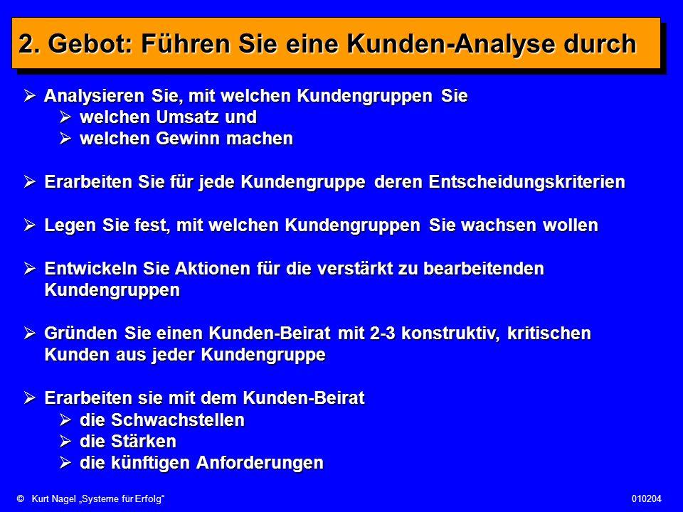 ©Kurt Nagel Systeme für Erfolg010204 2. Gebot: Führen Sie eine Kunden-Analyse durch Analysieren Sie, mit welchen Kundengruppen Sie Analysieren Sie, mi