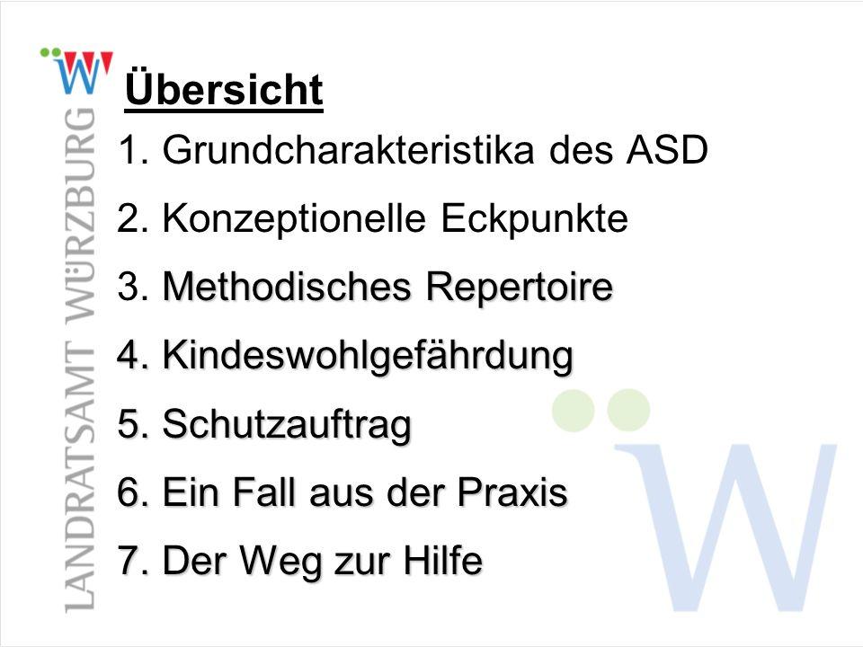 Übersicht 1. Grundcharakteristika des ASD 2. Konzeptionelle Eckpunkte Methodisches Repertoire 3. Methodisches Repertoire 4. Kindeswohlgefährdung 5. Sc
