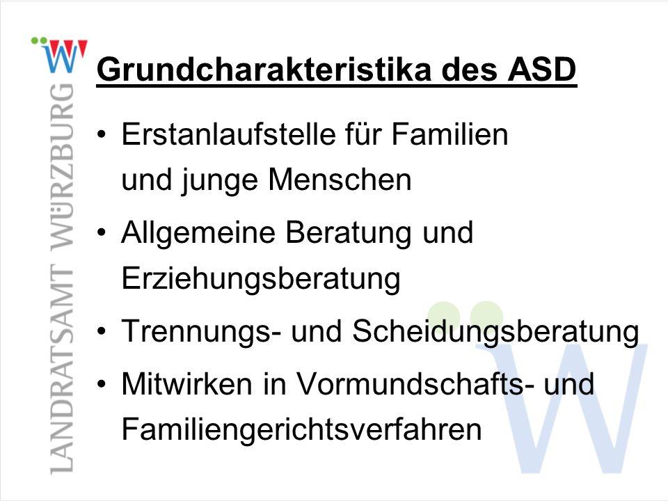 Grundcharakteristika des ASD Erstanlaufstelle für Familien und junge Menschen Allgemeine Beratung und Erziehungsberatung Trennungs- und Scheidungsbera