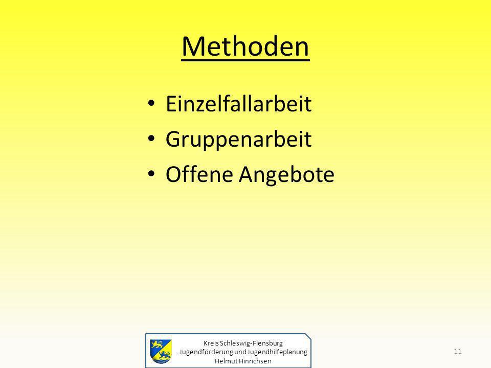 Kreis Schleswig-Flensburg Jugendförderung und Jugendhilfeplanung Helmut Hinrichsen Methoden Einzelfallarbeit Gruppenarbeit Offene Angebote 11