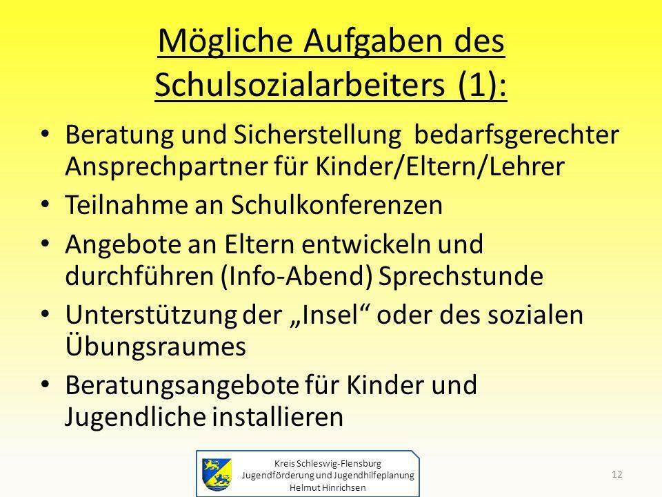 Kreis Schleswig-Flensburg Jugendförderung und Jugendhilfeplanung Helmut Hinrichsen Mögliche Aufgaben des Schulsozialarbeiters (1): Beratung und Sicher