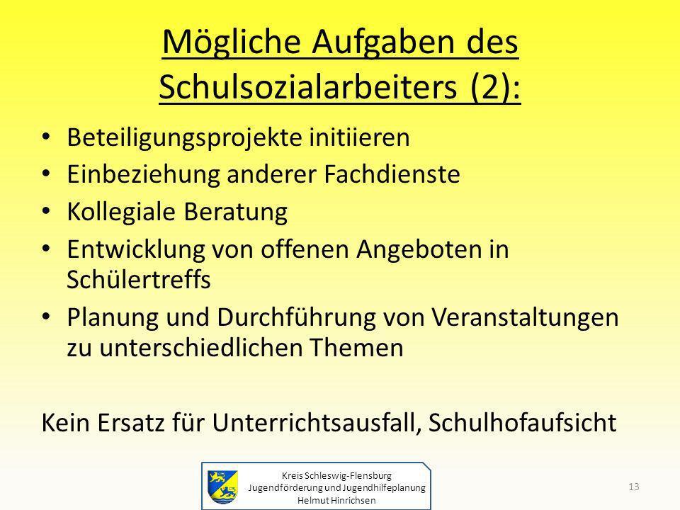 Kreis Schleswig-Flensburg Jugendförderung und Jugendhilfeplanung Helmut Hinrichsen Mögliche Aufgaben des Schulsozialarbeiters (2): Beteiligungsprojekt
