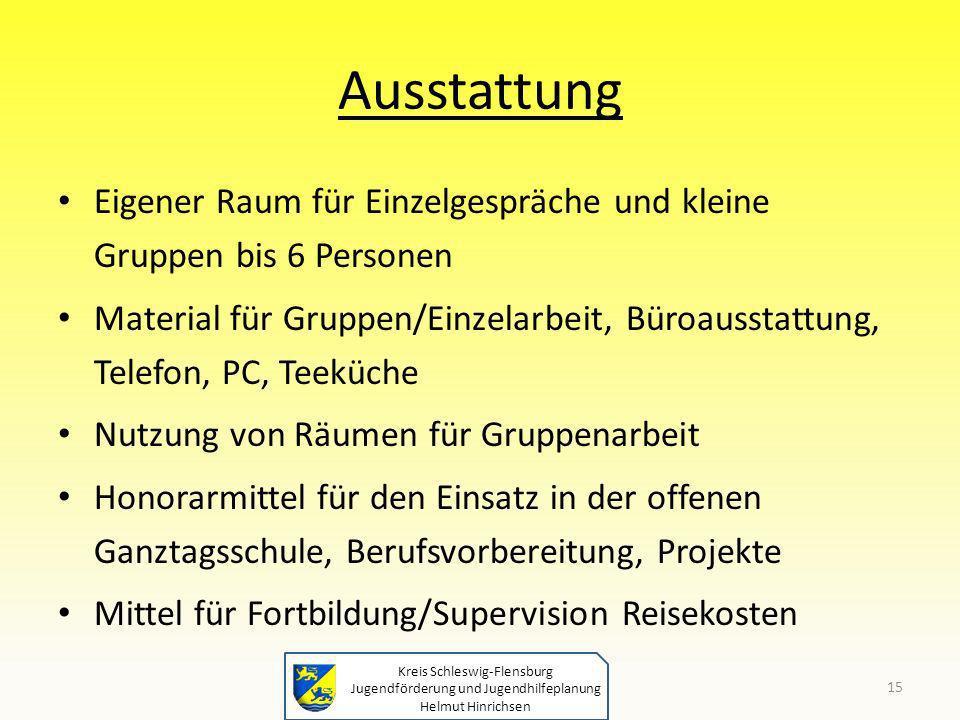 Kreis Schleswig-Flensburg Jugendförderung und Jugendhilfeplanung Helmut Hinrichsen Ausstattung Eigener Raum für Einzelgespräche und kleine Gruppen bis