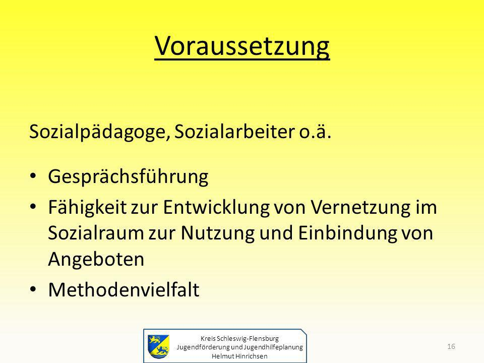 Kreis Schleswig-Flensburg Jugendförderung und Jugendhilfeplanung Helmut Hinrichsen Voraussetzung Sozialpädagoge, Sozialarbeiter o.ä. Gesprächsführung
