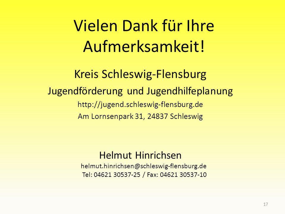Vielen Dank für Ihre Aufmerksamkeit! Kreis Schleswig-Flensburg Jugendförderung und Jugendhilfeplanung http://jugend.schleswig-flensburg.de Am Lornsenp