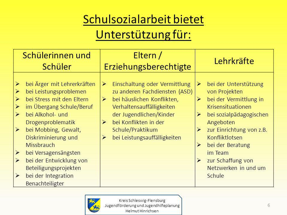 Kreis Schleswig-Flensburg Jugendförderung und Jugendhilfeplanung Helmut Hinrichsen Schulsozialarbeit bietet Unterstützung für: Schülerinnen und Schüle