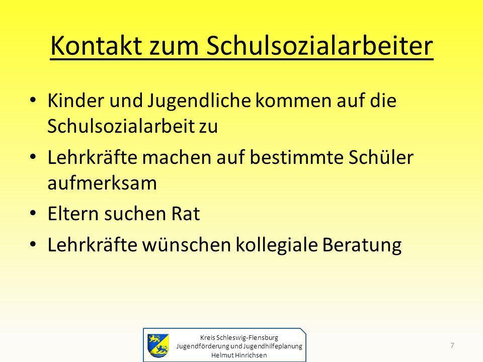 Kreis Schleswig-Flensburg Jugendförderung und Jugendhilfeplanung Helmut Hinrichsen Kontakt zum Schulsozialarbeiter Kinder und Jugendliche kommen auf d