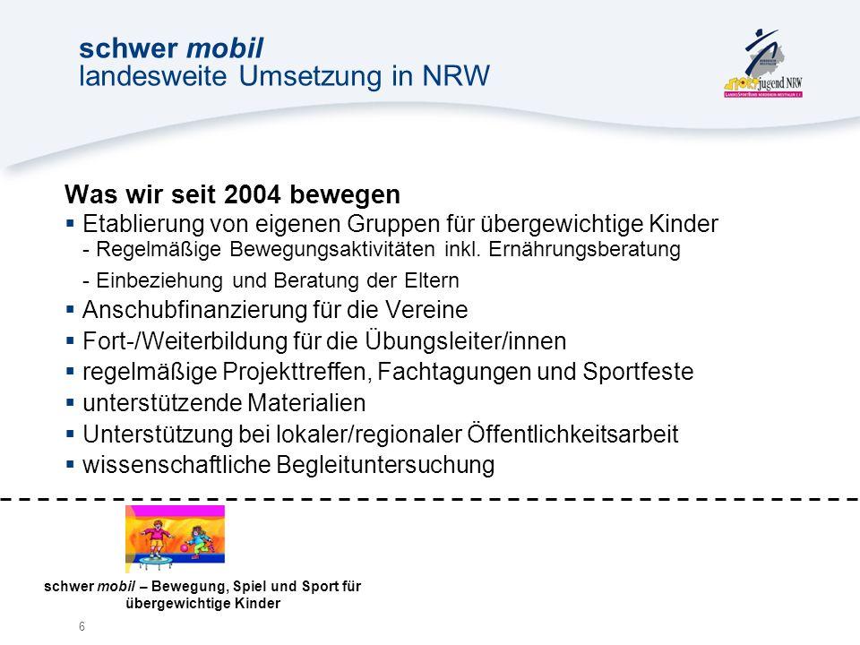 6 schwer mobil landesweite Umsetzung in NRW Was wir seit 2004 bewegen Etablierung von eigenen Gruppen für übergewichtige Kinder - Regelmäßige Bewegungsaktivitäten inkl.
