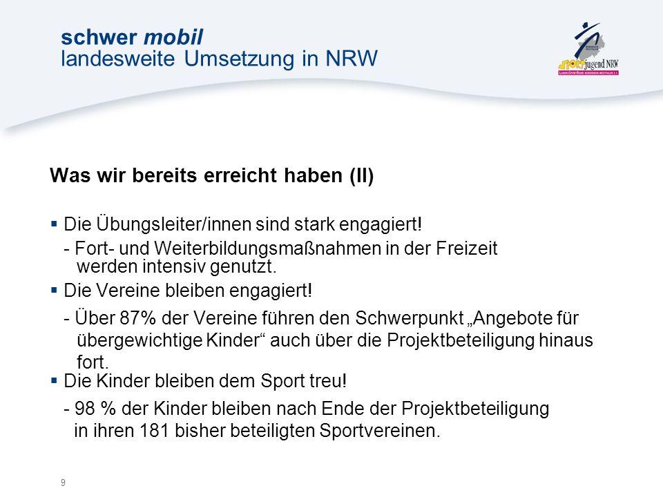 9 schwer mobil landesweite Umsetzung in NRW Was wir bereits erreicht haben (II) Die Übungsleiter/innen sind stark engagiert.