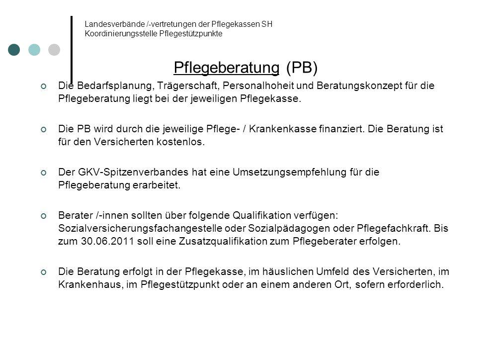 Landesverbände /-vertretungen der Pflegekassen SH Koordinierungsstelle Pflegestützpunkte Pflegeberatung (PB) Die Bedarfsplanung, Trägerschaft, Persona
