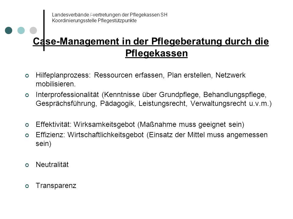 Landesverbände /-vertretungen der Pflegekassen SH Koordinierungsstelle Pflegestützpunkte Case-Management in der Pflegeberatung durch die Pflegekassen
