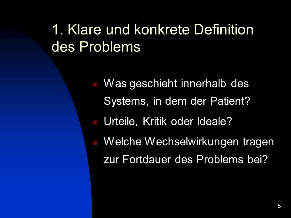 5 1. Klare und konkrete Definition des Problems Was geschieht innerhalb des Systems, in dem der Patient? Urteile, Kritik oder Ideale? Welche Wechselwi