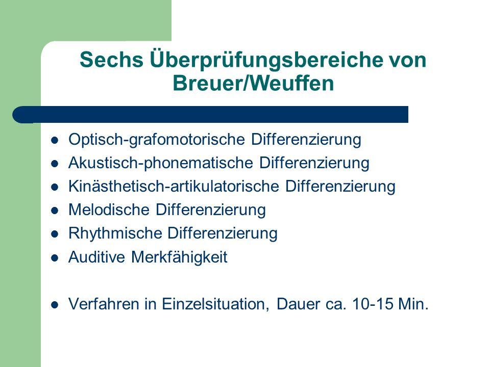 Sechs Überprüfungsbereiche von Breuer/Weuffen Optisch-grafomotorische Differenzierung Akustisch-phonematische Differenzierung Kinästhetisch-artikulatorische Differenzierung Melodische Differenzierung Rhythmische Differenzierung Auditive Merkfähigkeit Verfahren in Einzelsituation, Dauer ca.