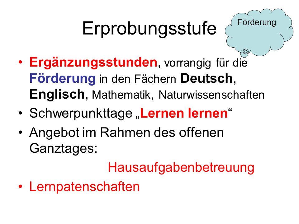 Erprobungsstufe Ergänzungsstunden, vorrangig für die Förderung in den Fächern Deutsch, Englisch, Mathematik, Naturwissenschaften Schwerpunkttage Lerne